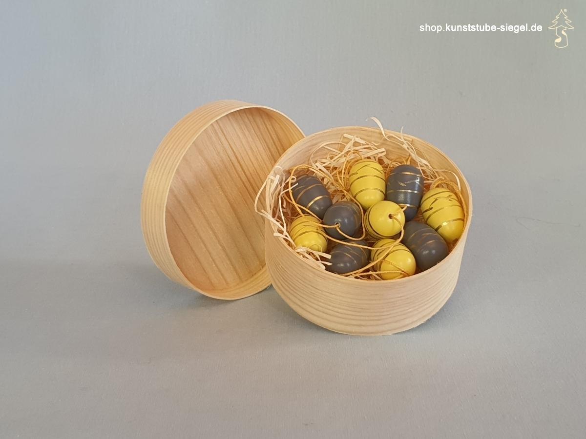 Baumbehang Ostereier 10 er Set gelb/grau