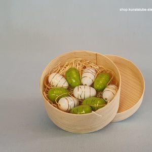 Kunststube Siegel Baumbehang Ostereier 10er Set weiß / grün