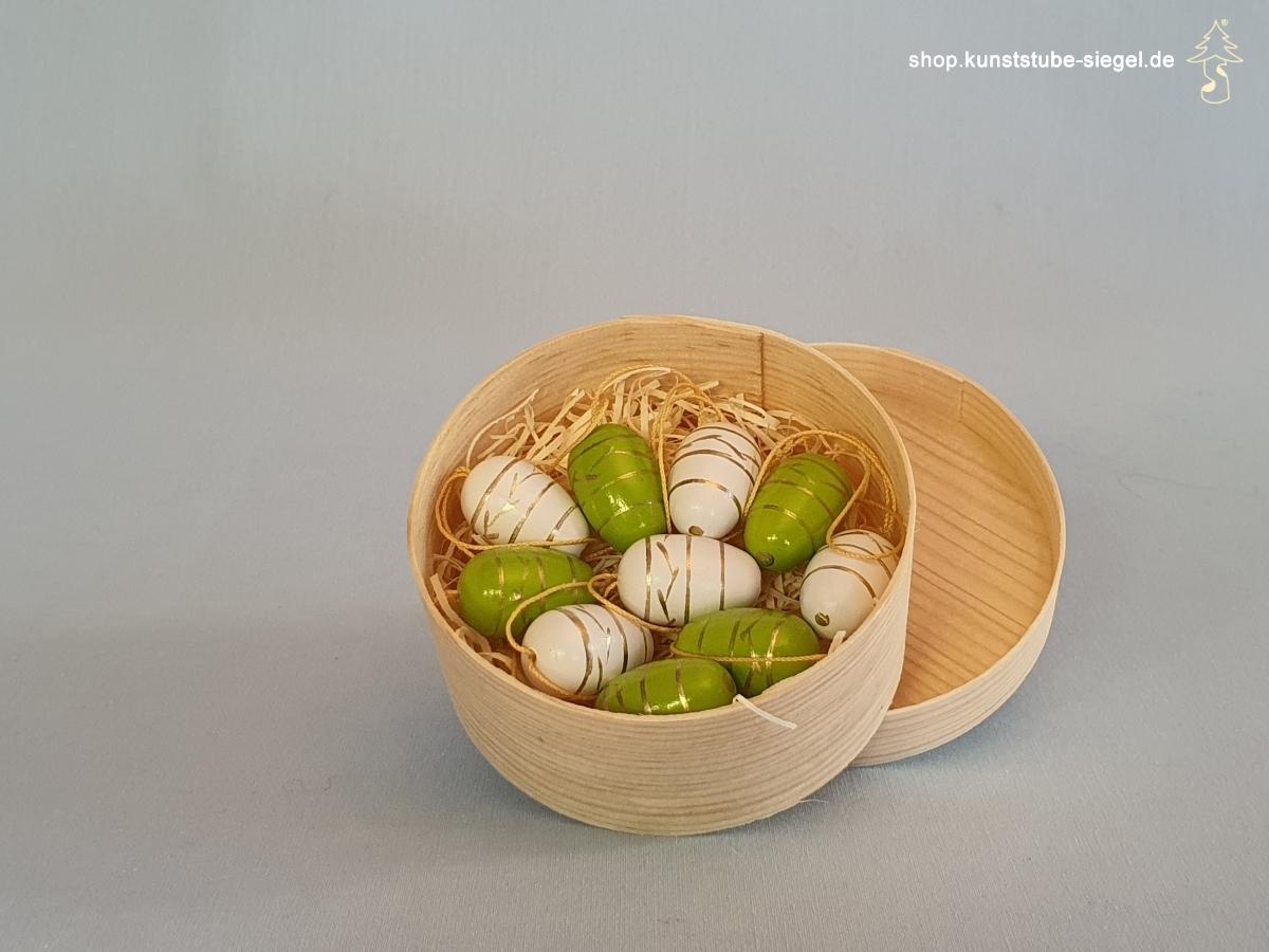 Baumbehang Ostereier  10er Set weiß / grün