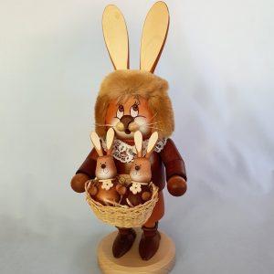 Kunststube Siegel Wichtel Räucher Häsin mit Hasenbabys groß